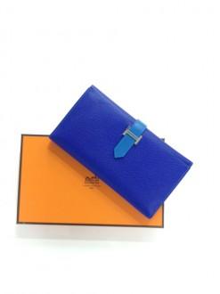 エルメス 財布 ベアン三つ折り長財布 ブルーエレクトリック×ミコノス