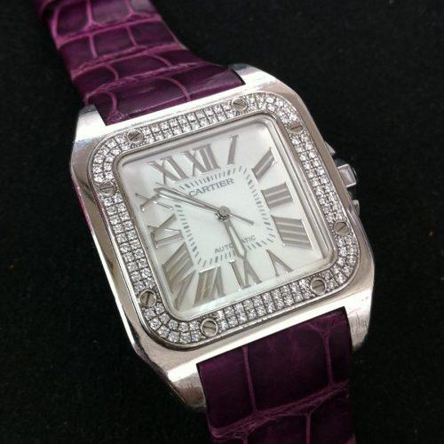 カルティエ 腕時計 サントス100MM K18WG ベゼルダイヤ