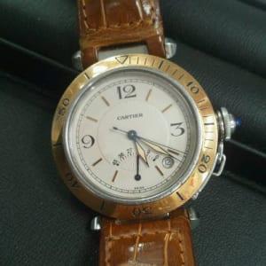 カルティエ 腕時計 パシャ K18YG×SS×革