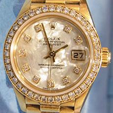 ロレックス 時計 デイトジャスト レディース 79138ng ドレスウォッチ シェル文字盤 イエローゴールド ダイヤモンド 高額査定