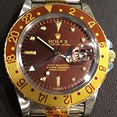 ロレックス 時計 GMTマスター 16753 ブラウン フジツボダイヤル アンティーク イエローゴールド ステンレス コンビ 高価買取