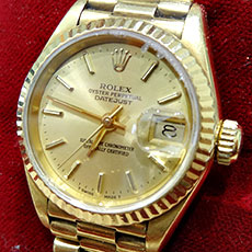 ロレックス 時計 デイトジャスト レディース シャンパンゴールド文字盤 定番モデル 高価買取