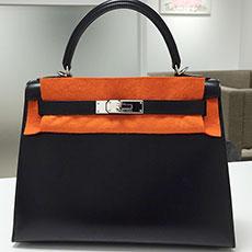 エルメス バッグ ケリー28 黒 ブラック ボックスカーフ ヴィンテージ 人気 買取強化
