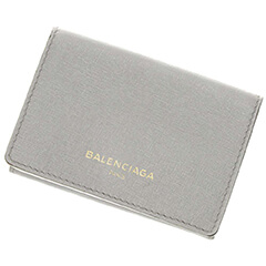 エッセンシャル ミニ ウォレット 三つ折り財布 グレー レザー 490621