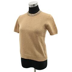 ビジュ襟 半袖セーター