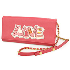 サフィアーノ チェーンウォレット LOVE ピンク 1M1290