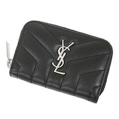 ラウンドファスナー YSL コインケース 黒 カーフ 530836
