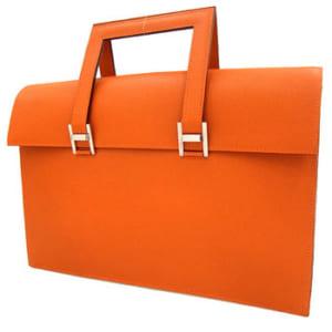 【エルメス ビジネスバッグ 365PM オレンジ×シルバー金具 ヴォーエプソン】アパレル系のビジネスマン向け