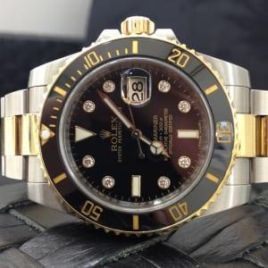 ロレックス 腕時計 高価買取 サブマリーナ デイト コンビ 黒文字盤 8Pダイヤ
