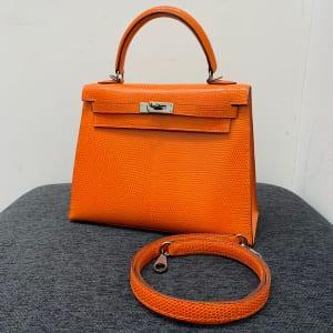 ケリー25 外縫い オレンジ リザード ルテニウム金具 □J刻印