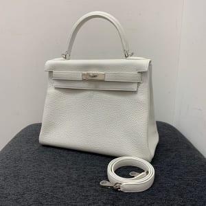 ケリー28 内縫い 白 トリヨン SV金具 T刻印 (新品同様品)