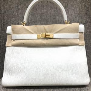 ケリー32 内縫い 白 トリヨンクレマンス ゴールド金具 T刻印