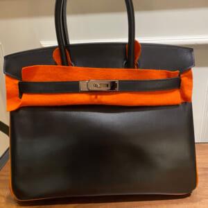 バーキン30 黒/オレンジ ボックスカーフ シルバー金具 □J刻印