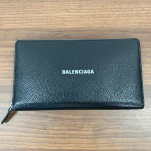 バレンシアガ ロゴ ラウンドファスナー長財布 黒 レザー 594317